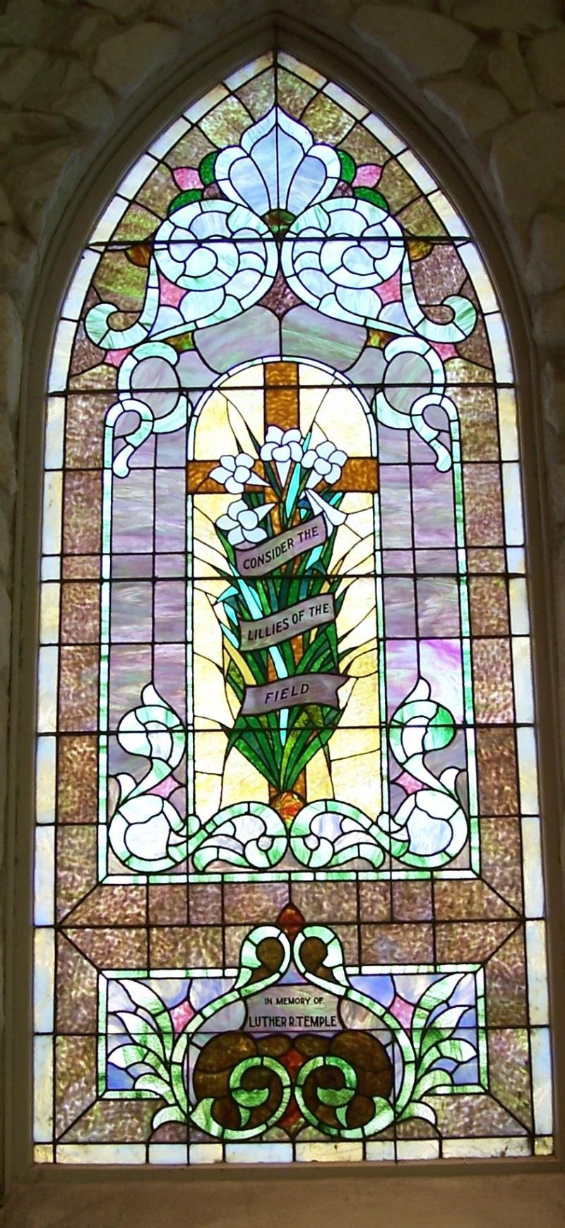 """Consider the Lillies of the Field"" is the theme of our stained glass window."