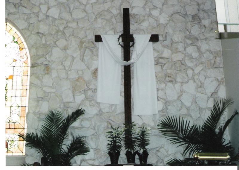Our cross, on Easter morning